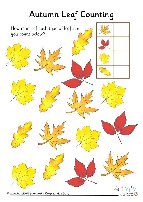 Autumn Leaf Counting 3 Worksheets For Kindergarten Free