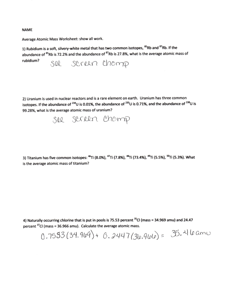Average Atomic Mass Practice Worksheet Chemistry Average Atomic