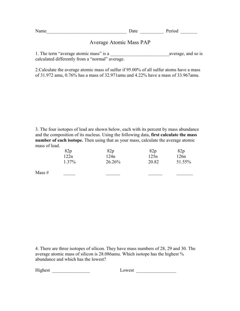 Average Atomic Mass Worksheet 2 Average Atomic Mass Worksheet Doc