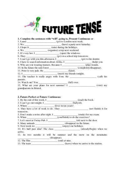 Future Simple Tense Worksheet