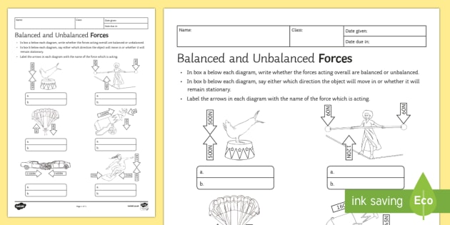 Balanced And Unbalanced Forces Homework Worksheet   Activity