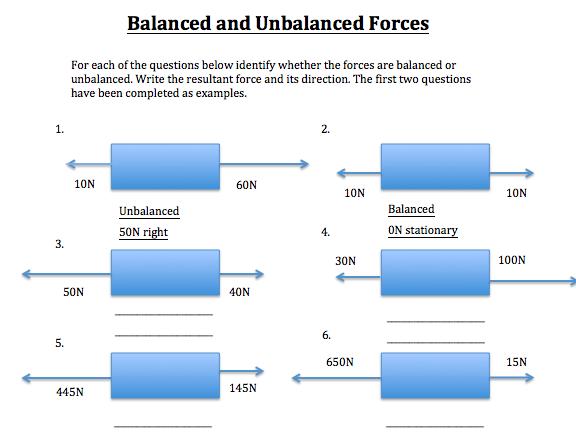 Balanced Forces Worksheet 1295501