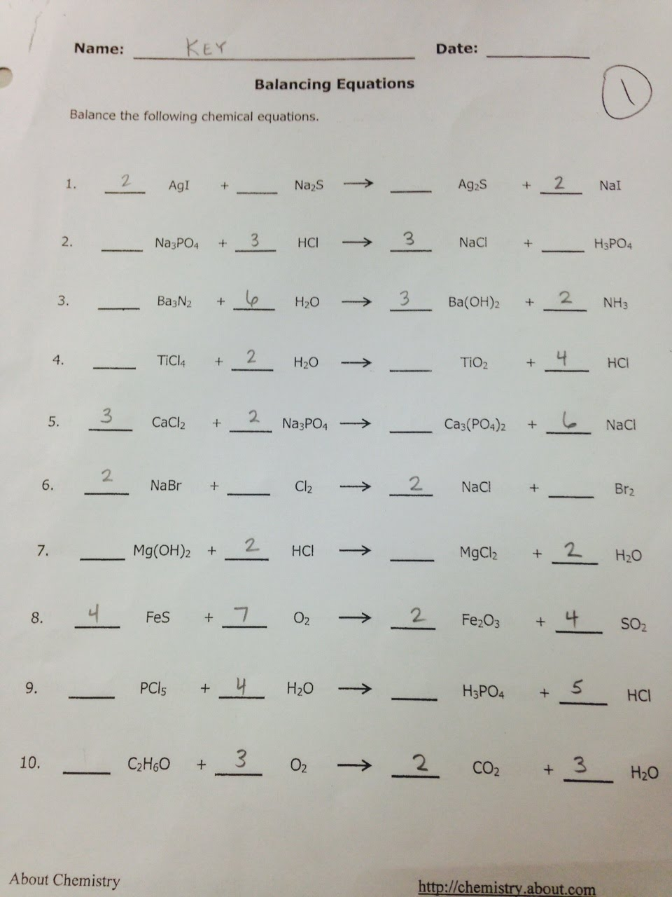 Balancing Equations Worksheet Prentice Hall  144177
