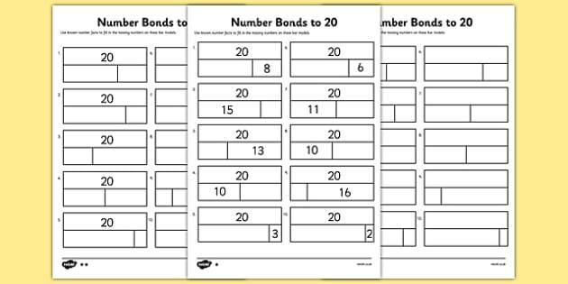 Bar Modelling Number Bonds To 20 Differentiated Worksheet