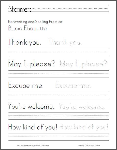 Basic Etiquette Handwriting And Spelling Worksheet