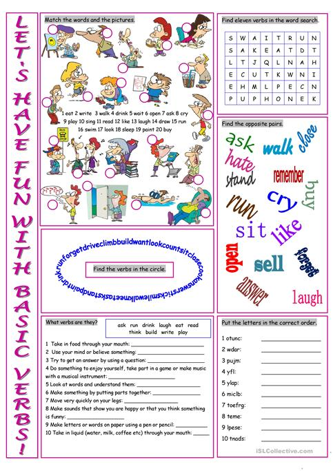 Basic Verbs Vocabulary Exercises Worksheet