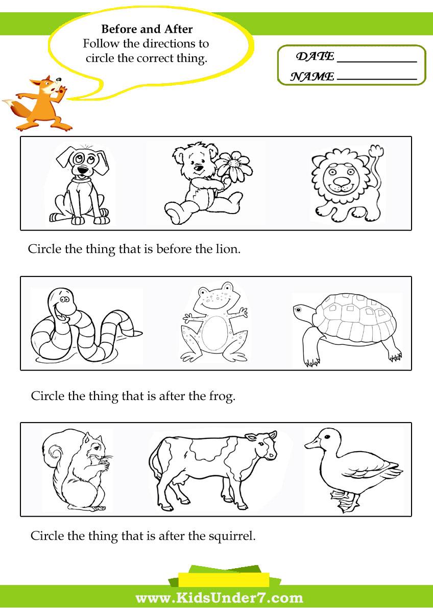 Before After Between Worksheets For Kindergarten  1178462