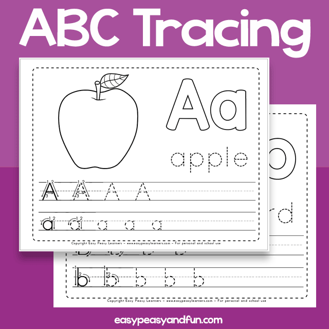 Big Alphabet Tracing Worksheets – 26 Page Workbook – Easy Peasy