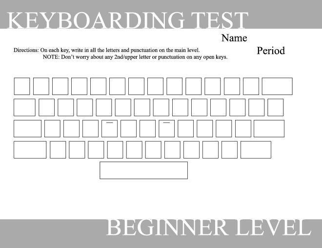 Blank Typing Keyboard Worksheet