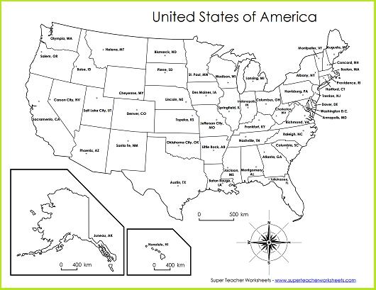 Blank United States Map Worksheet