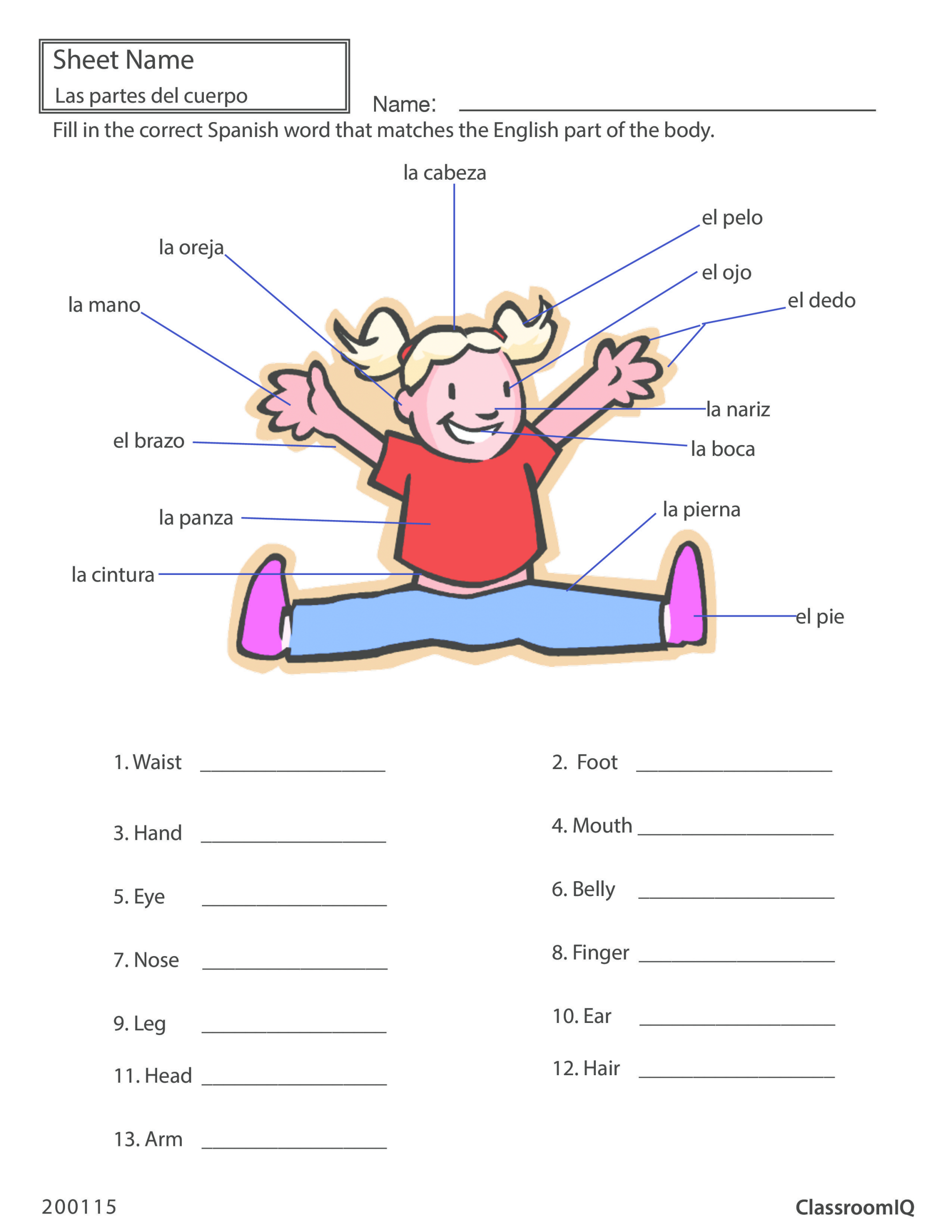 Body Parts In Spanish Worksheet Modified Images