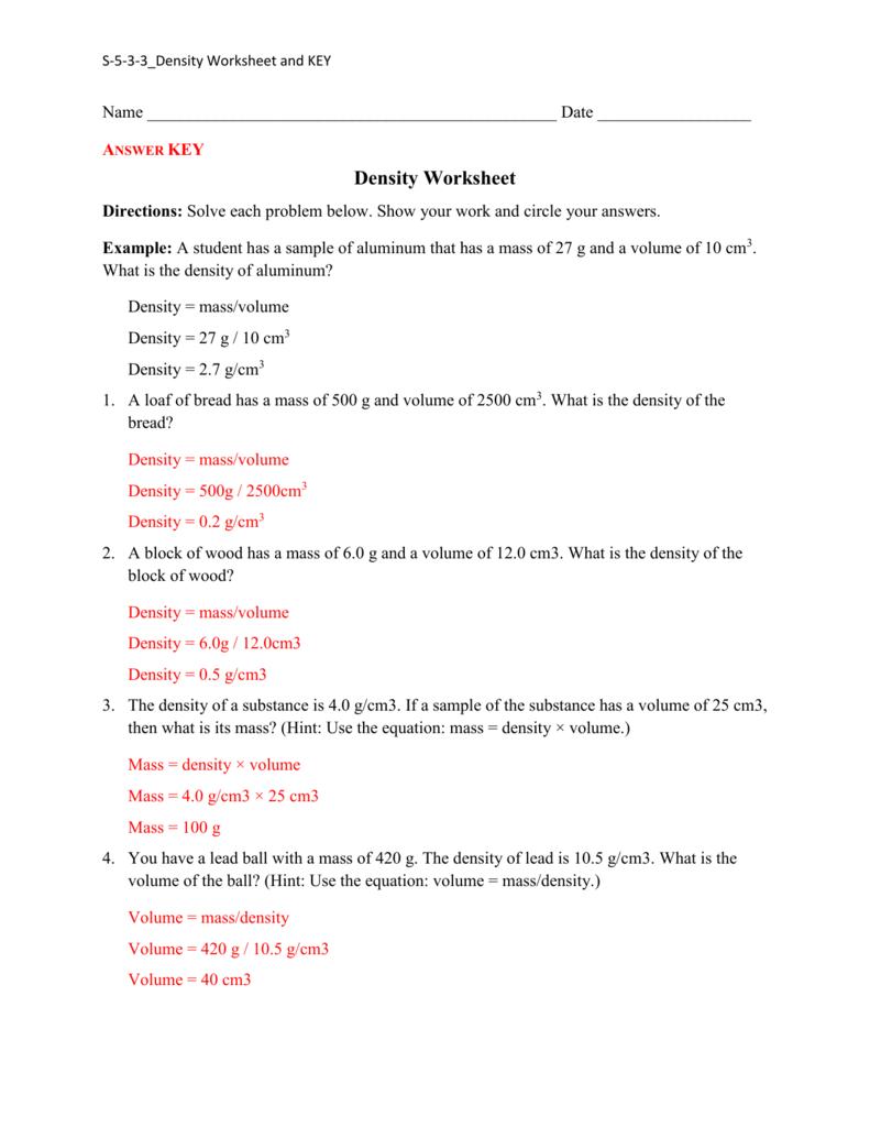 Calculate Density Worksheet 6th Grade 1093048
