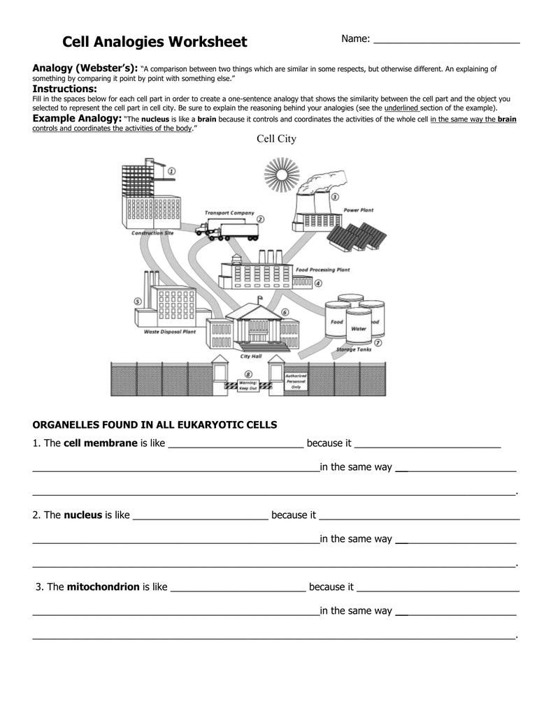 Cell Analogy Worksheet  2301572