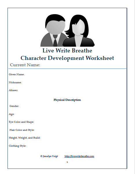 Character Development Worksheet (free Printable)