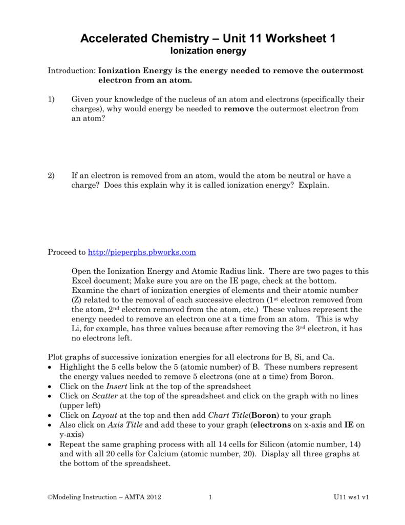 Chemistry Ionization Energy Worksheet Answers  703882