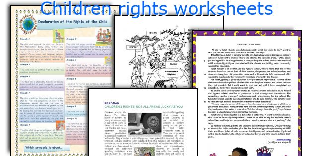 Children Rights Worksheets