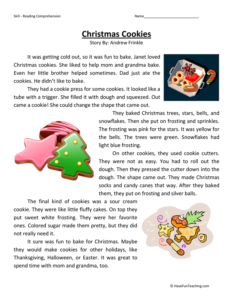 Christmas Literacy Worksheets For Kindergarten  Kindergarten  Free
