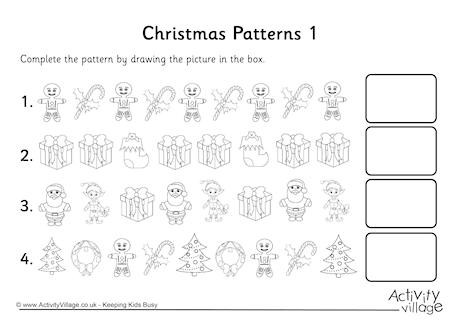 Christmas Patterning Worksheets For Kindergarten 92948