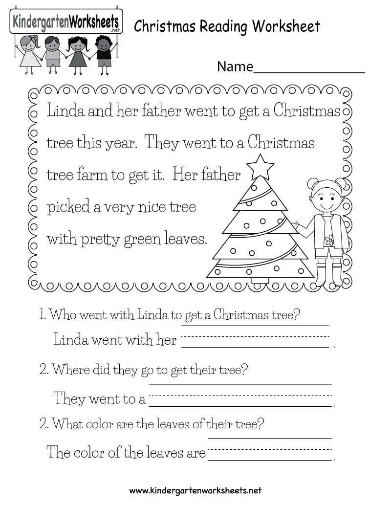 Christmas Reading Worksheet Free Kindergarten Holiday, Preschool