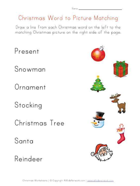 Christmas Word Matching Worksheet For Kids, Kindergarten Christmas