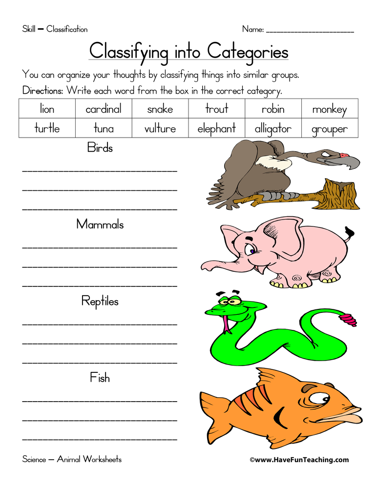 Classifying Animals Worksheets For Kindergarten 637354