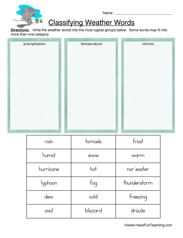 Classifying Ideas Worksheet For Grade 1  679140