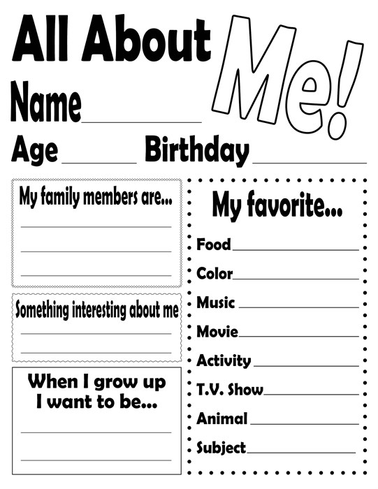Click Here To Print The Free All About Me Worksheet!, All About Me