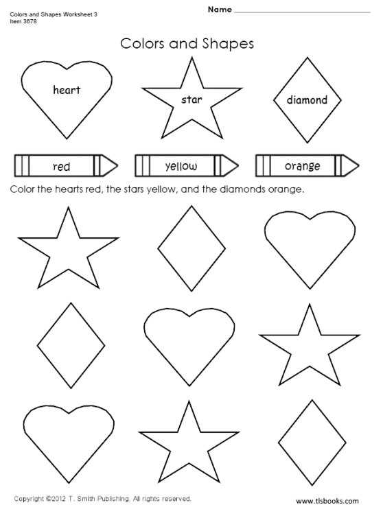 Color Shapes Worksheet Preschool  309855