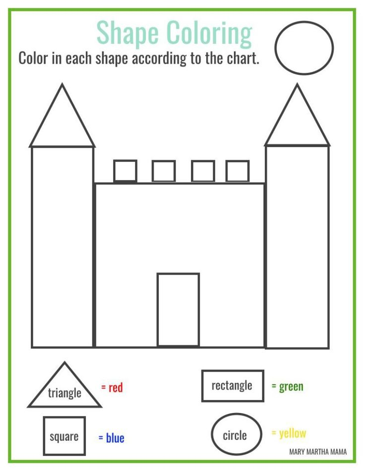 Color Shapes Worksheet Preschool  309874