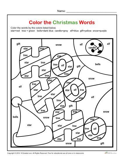 Color The Christmas Words Printable 1st 3rd Grade Christmas