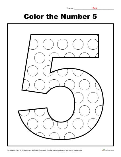 Color The Number 5