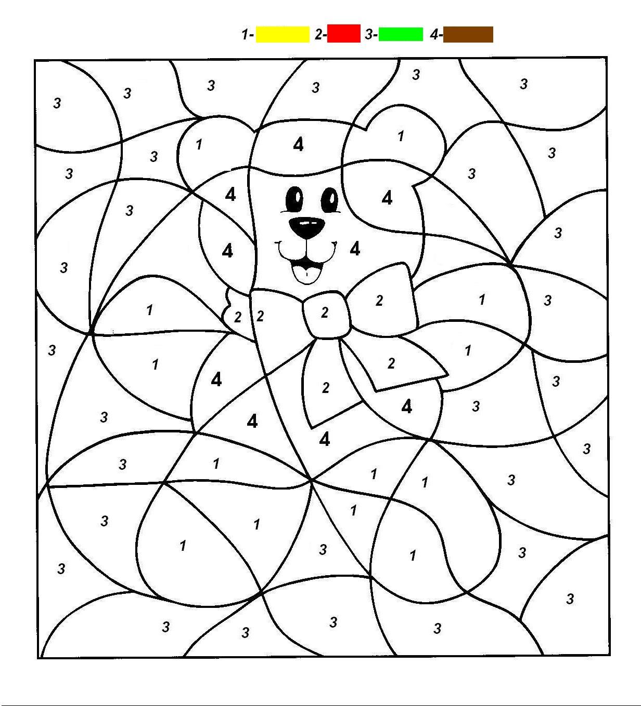 Coloring Worksheets Esl Bear+number