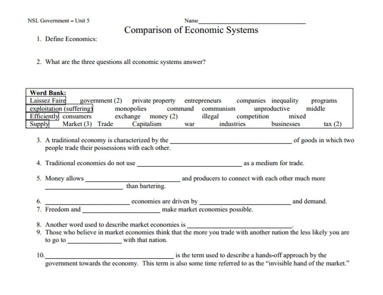 Comparing Economic Systems Worksheet The Best Worksheets Image