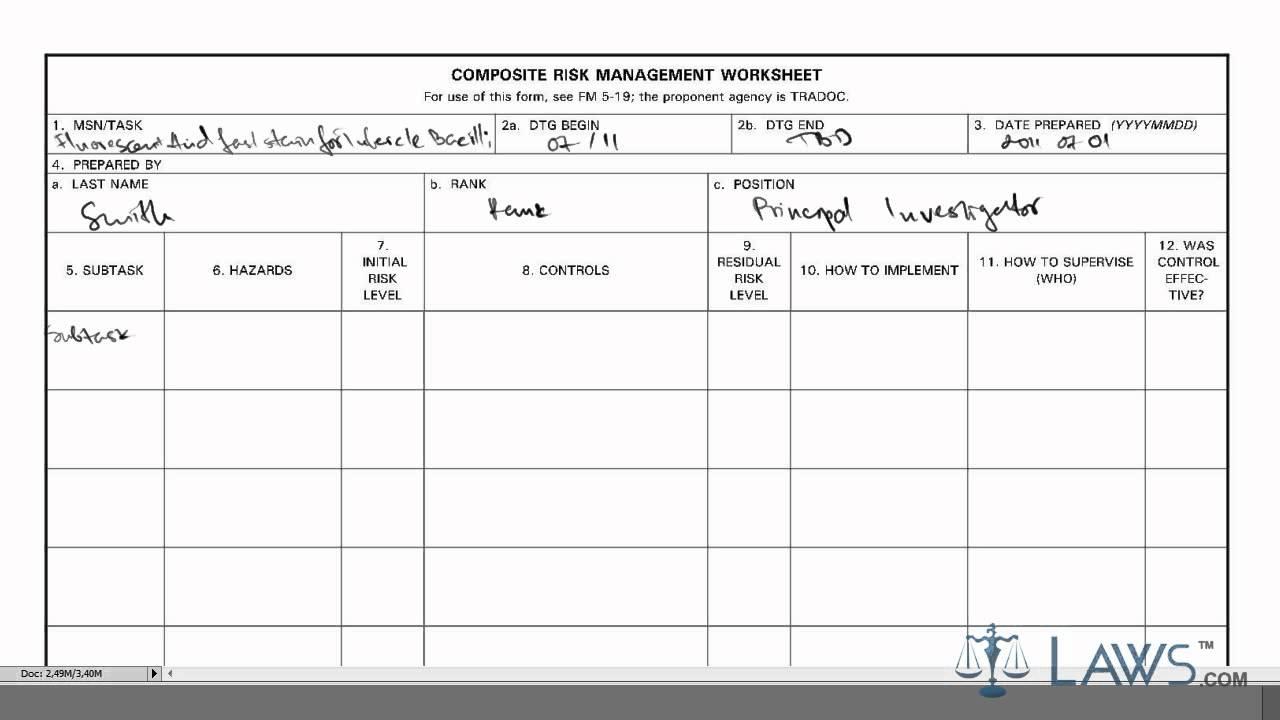 Composite Risk Management Worksheet  301441
