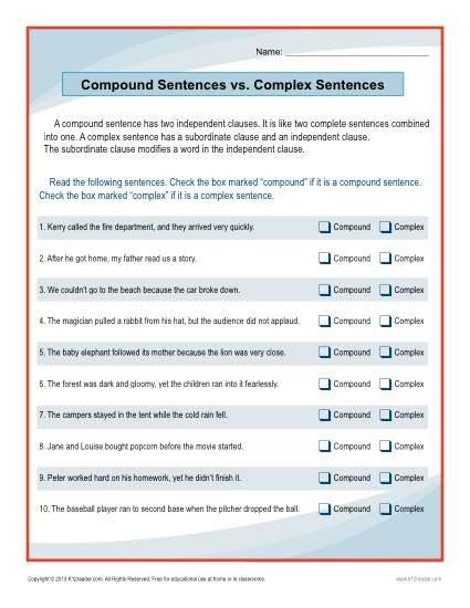 Compound Sentences Vs  Complex Sentences Worksheet