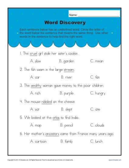 Context Clues Worksheets For 2nd Grade