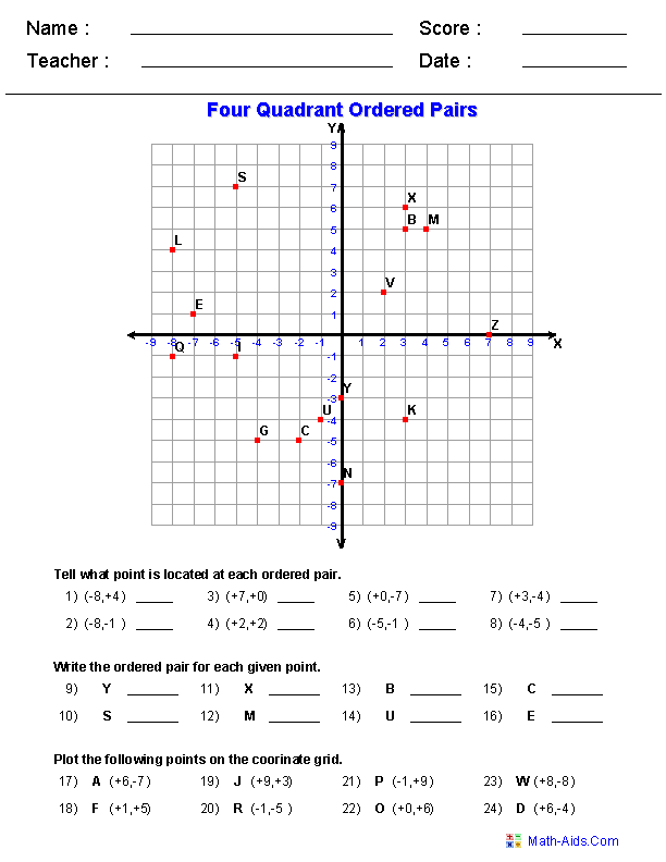 Coordinate Graphing Worksheets 942529