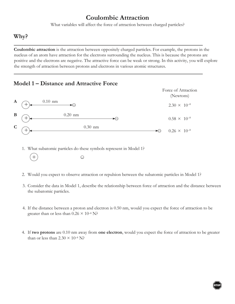 Coulombic Attraction Worksheet Answers