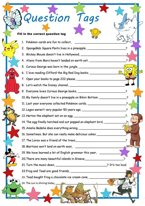 Curious George & Co  Meet Question Tags Worksheet