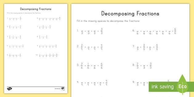 Decomposing Fractions Worksheet   Activity Sheet