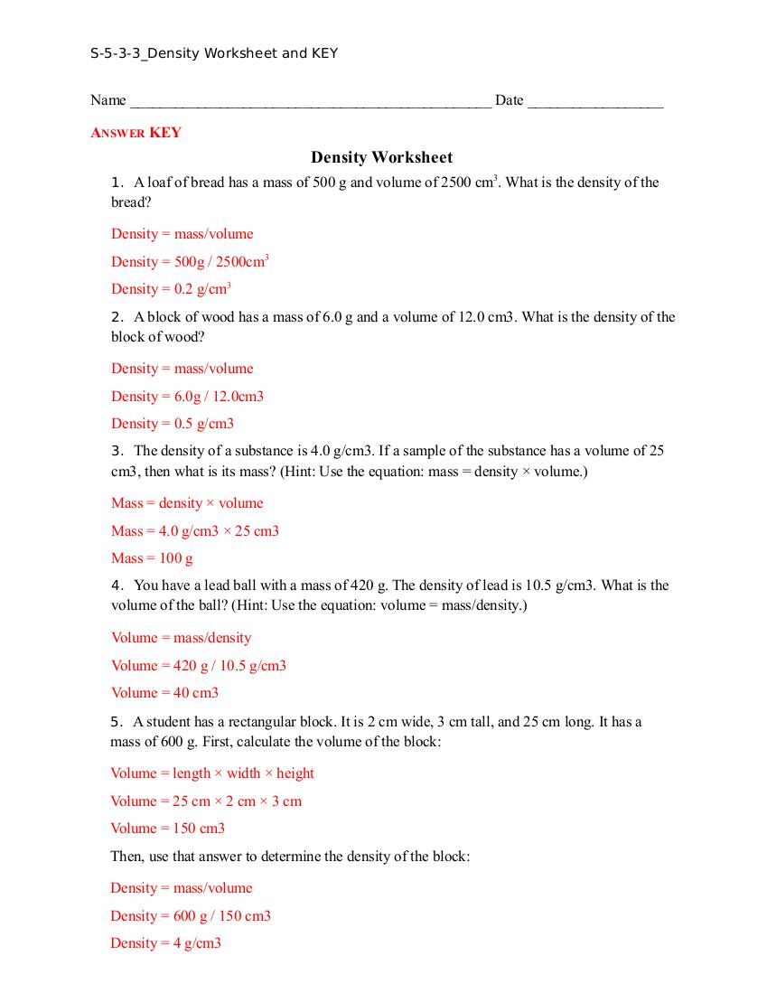 Density Worksheet And Key – Worksheet Template