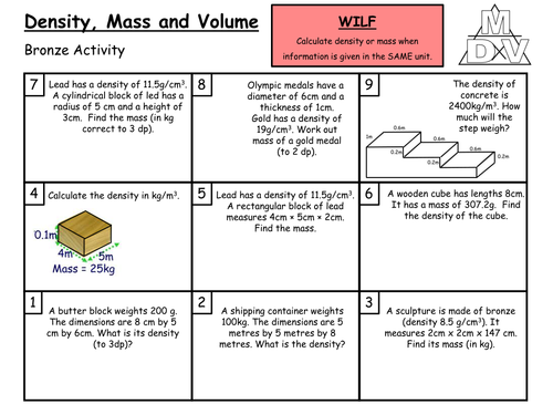 Density Worksheet Define Mass Lovely Density Mass And Volume Grade