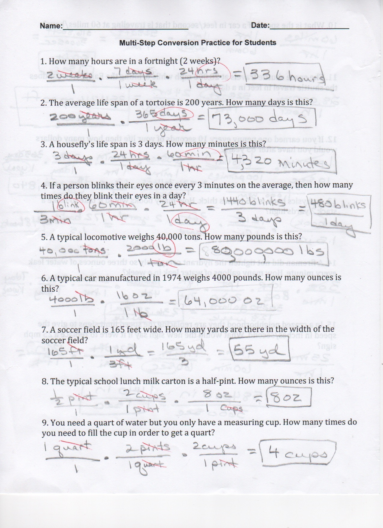 Dimensional Analysis Worksheet And Key