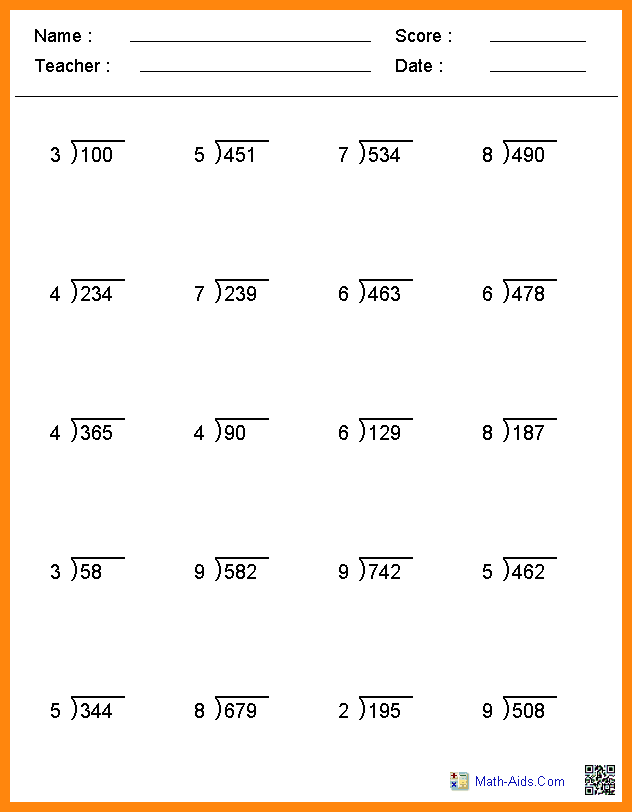 Division Worksheets Of Grade 5  398024