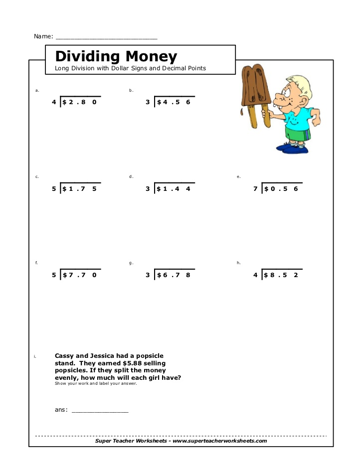 Division Worksheets With Money 1198517