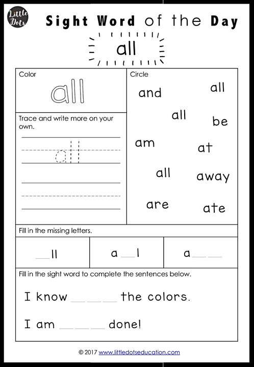 Dolch Primer Sight Words Activities