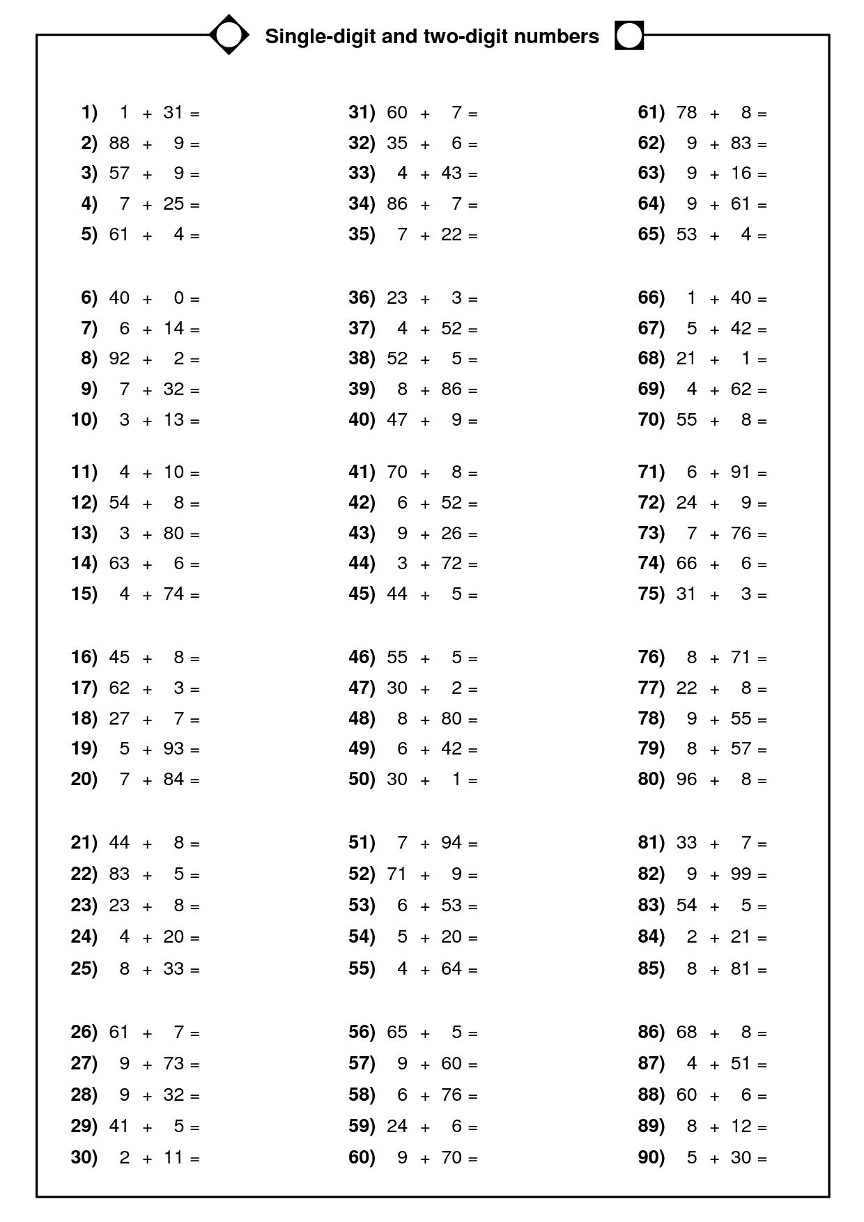 Double Digit X Single Digit Multiplication Worksheets  898188