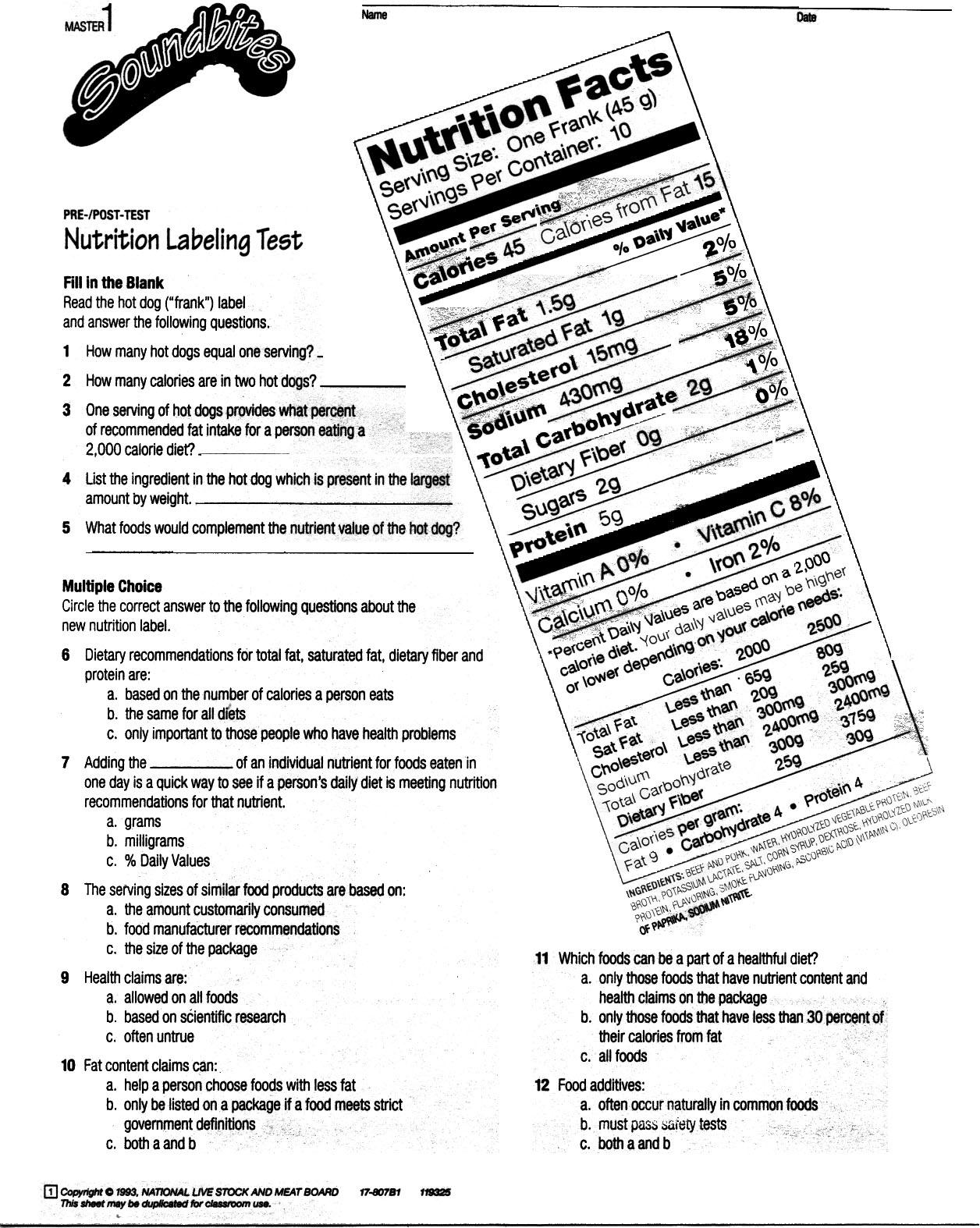 Printables  Nutrition Labels Worksheet  Lemonlilyfestival