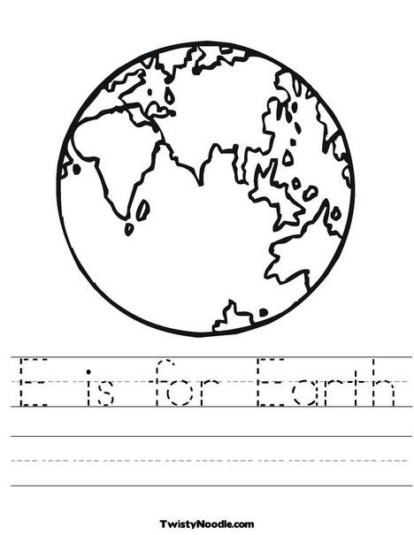 E Is For Earth Worksheet From Twistynoodle Com