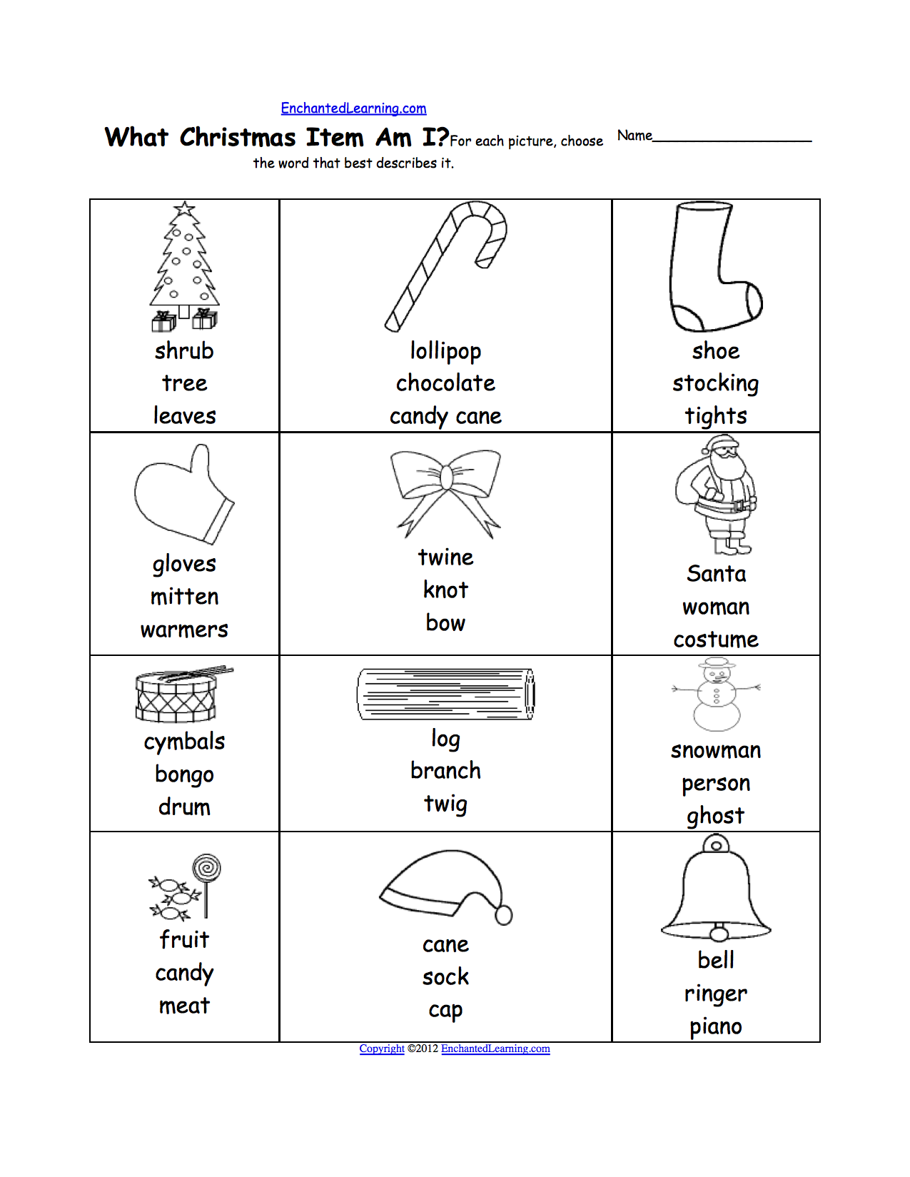 Kids Christmas Worksheets